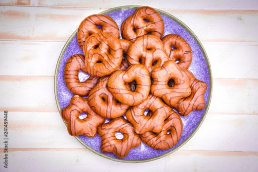 Traditional German Gingerbread Or Lebkuchen Biscuits On A Blue Plate