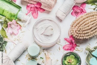 Skin Cream With Flowers Petals And Others Body Care Cosmetic Products And Accessories On White Background Top View 211477183 Leaves Wallpaper